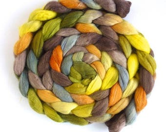 Spot of Sunlight, Polwarth/Silk Roving - Handpainted Spinning or Felting Fiber