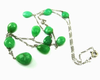 Sterling Silver Necklace Agate Briolette Charm Necklace Green Stone Quartz Agate Jewelry Minimalist Modernist