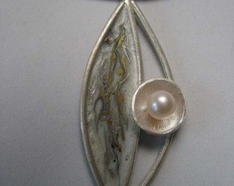 One of a kind handmade fine silver enamel pendant with a fresh water pearl