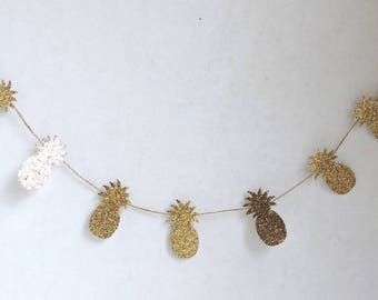 Pineapple Banner, Pineapple Garland, Pineapple Party Decor, Pineapple Party Supplies, Pineapple Decorations, Gold Pineapple Decor