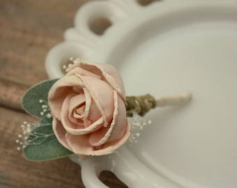 Blush pink boutonniere, grooms flower, pin on sola wood flower, blush wedding flowers, groomsmen, ecoflower, wooden lapel flower