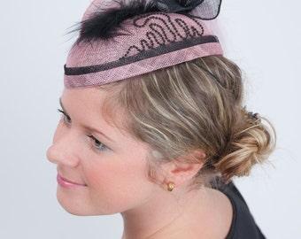 Jessica, Pink and Black Occasion Fascinator, Wedding Headpiece, Formal Mini Hat