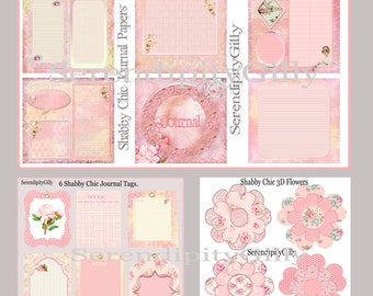 Shabby Chic Journal Paper, Tags and Flower Elements. (DOWNLOAD)
