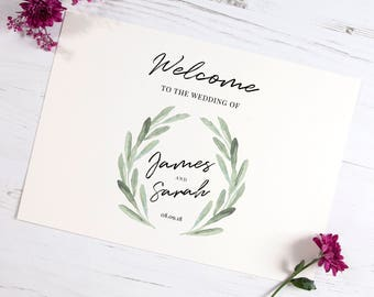 Olive Welcome Wedding Sign A5, A4 & A3