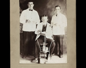 antique 1900s occupational photo chicago barbers