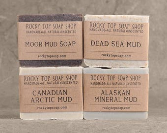 Mud Soap Set - Handmade Soap, Artisan Soap, Rustic Soap, Unscented Soap, Discounted Set