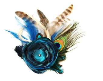 Fascinator Julietta petrol taupe beige nude türkis Haarschmuck Kopfschmuck Haargesteck Federn Blüte dunkelblau Perle Pfau Pfauenfeder braun