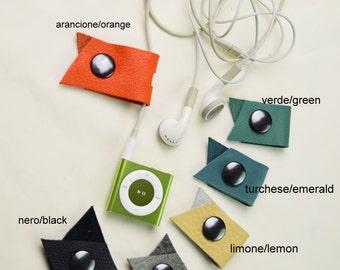 3xLeather headphone Organizer/Headphone case/Cord Holder