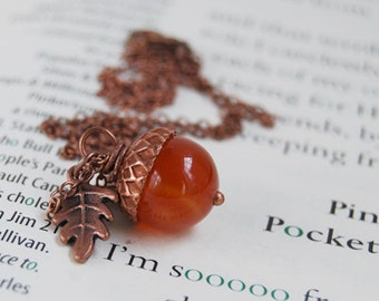 Carnelian and Copper Acorn Necklace | Gemstone Acorn Charm Necklace | Cute Autumn Necklace | Nature Jewelry