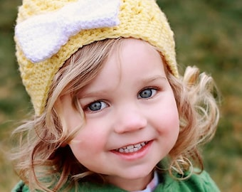 Yellow Crochet Hat with White Bow--Textured Hat Cap Beanie--Any Size