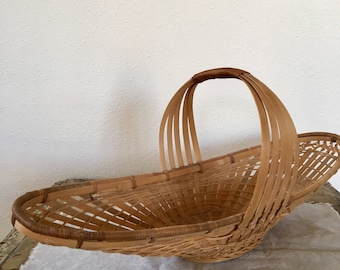 Vintage Large Basket, Boat Basket made in People's Republic of China, Long Bread Basket,  collectible basket