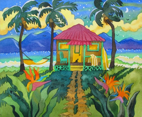 Tropical Island, Hut, Beach,  Palm Trees, Hammock, Surfboard, Cat, Hawaii, Bali, Tropical Painting, Print, Island, Ocean, Whimsical, Altman