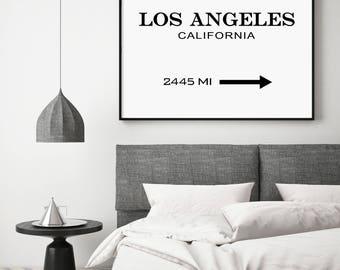 Los Angeles Print, Los Angeles Sign, LA Modern Print, LA, Fashion Print, Los Angeles Printable, Typography Black and White