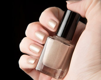 Of Thy Sins nail lacquer - Shimmering champagne gold nude holographic nail polish - The Columbia Collection - .45oz/13.2mL