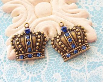 Antiqued Brass Crown Swarovski Sapphire Blue Rhinestone Charm Pendant Dangle French Chic  - 2
