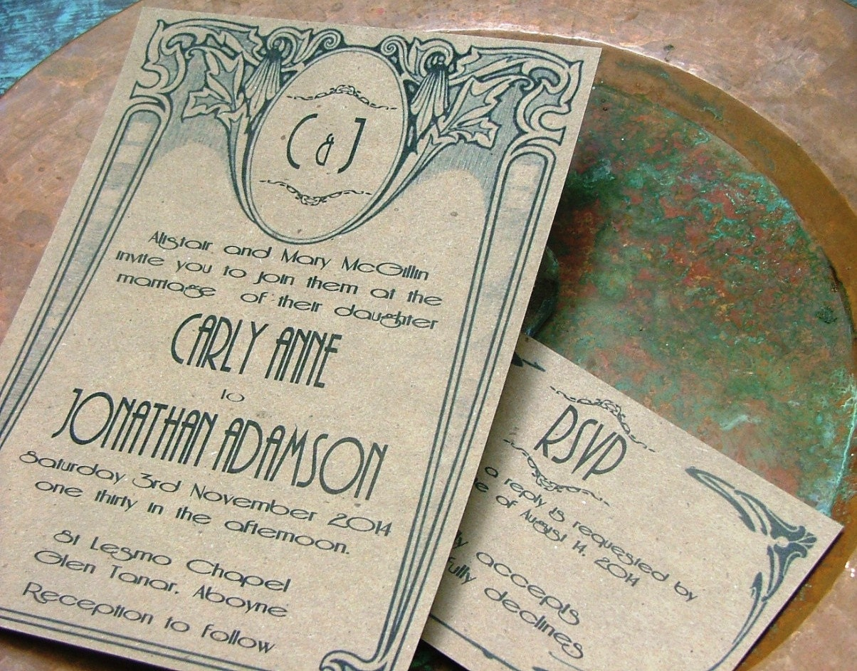 Art Deco wedding invitations Vintage Wedding Invitations