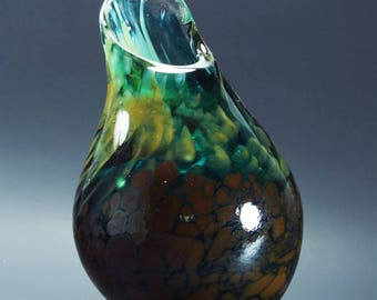 Tobacco and Green Blown Glass vessel