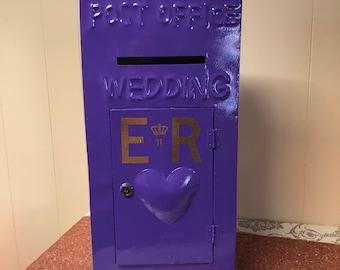 Purple Vintage Metal Post Box Hire