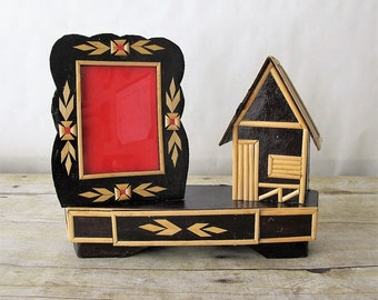 Vintage Wooden Picture Frame and Tiny House with Small Drawer Made from Very Delicate Wood