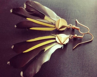 Elegant goldfinch feather earrings.