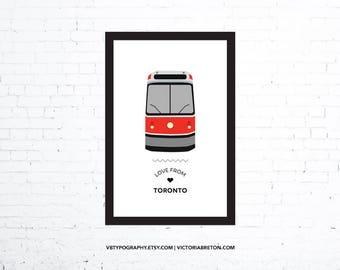 "Love from Toronto - 11"" x 17"" typography print, streetcar, subway, toronto transit, modern wall decor, map, travel, sign art, custom"