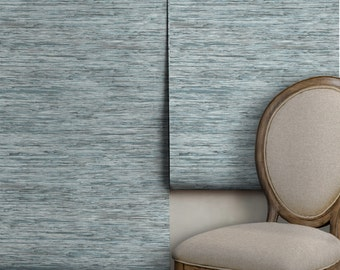 Faux Grasscloth / Spa Blue • Easy to Apply Removable Peel 'n Stick Wallpaper