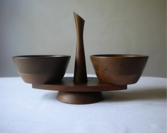 Vintage Kustom Kraft Black Walnut Condiment Server