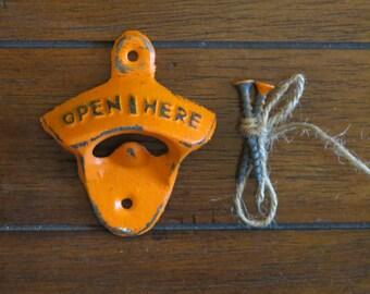 Bright Orange Bottle Opener / Cast Iron /Vintage Inspired / Mancave /Kitchen Decor/Gameroom/Patio/Groomsman Gift/Stocking Stuffer