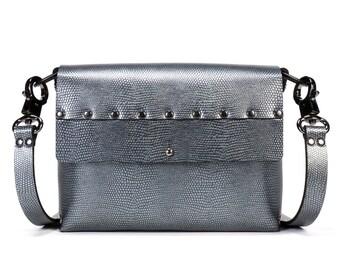 Pewter Crossbody Bag | Dark Silver Handbag | Vegan Crossbody | Made in USA