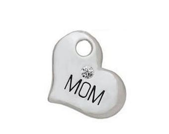 MOM, Silver Plated Heart with Clear Crystal Charm, Qty.1