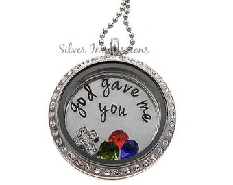 God gave me you  / Mom Locket / Floating Locket / Hand Stamped Jewelry / Charm Locket