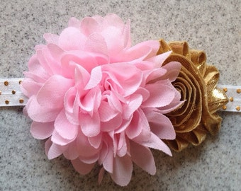 Pink gold first birthday headband, pink and gold birthday, pink gold headband photo prop