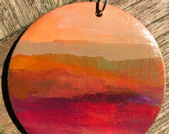 Sale Pending . Hand Painted Jewelry Pendant Necklace . 2 inch Diameter . 20-inch Sterling Silver Chain