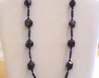 Garnet and Blue Pietersite bead necklace with matching earrings