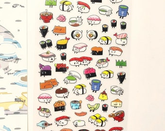 Cute Sushi Stickers Sheet