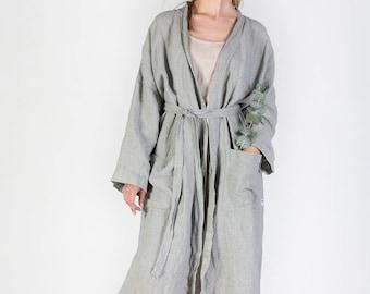 Linen robe, Vintage style natural linen robe, Women's linen bathrobe, Long linen gown, Luxurious spa robe, Stonewashed linen robe