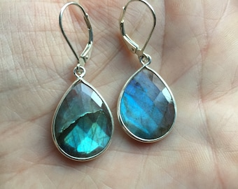 SALE! Sterling Silver or 14K Gold-filled Large LABRADORITE Teardrop Leverback Hoop Earrings. Rainbow colored, eye stopping Gypsy hoops!