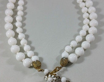 Vintage White Milk Glass Beaded Double Strand Necklace Signed Miriam Haskell 16""
