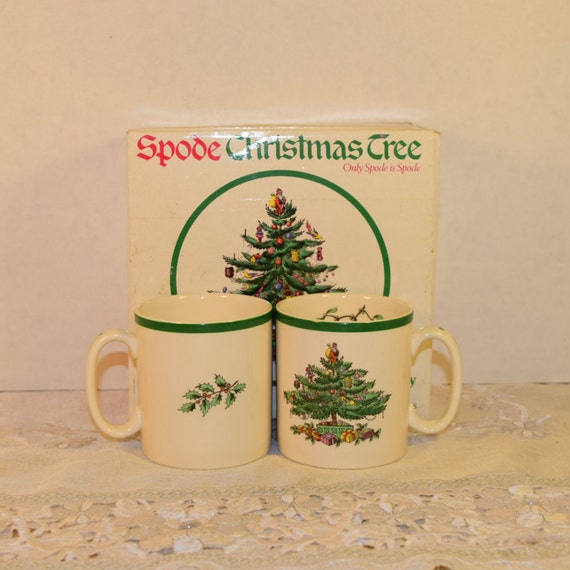 Spode Mugs 2 & Box Vintage Tom and Jerry Mugs Pattern S3324 S Made in England Christmas Tree Mistletoe Cups Original Box Replacement China