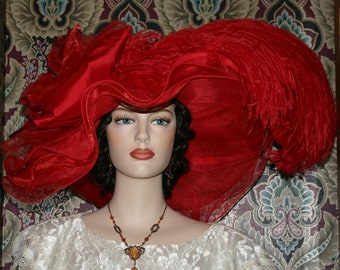 Kentucky Derby Hat, Ascot Hat,  Edwardian Hat, Tea Party Hat, Downton Abbey Hat, Womens Red Hat, Del Mar Hat, Red Hat Society - Rouge Sunset