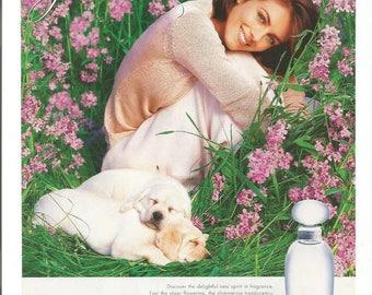 1997 Advertisement Elizabeth Hurley For Estee Lauder Pleasures Perfume Golden Retriever Puppy Fashion Style Celebrity Wall Art Decor
