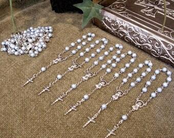 12 pzas. Mini Rosarios de perlas para recuerdos de Bautizo, Comunión, Quinceañera o boda