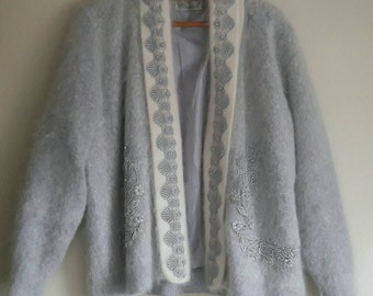 Angora Woolen Vest with Pearls and Broderie Vintage