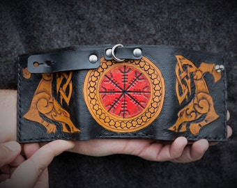 Viking Leather Trifold Wallet - Runic Leather Trifold Snap Wallet