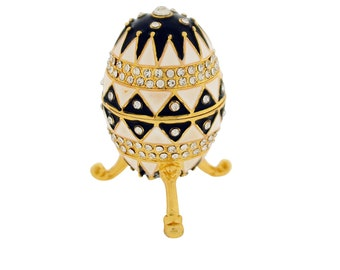 Black and White Diamante Faberge Style Egg Trinket Box, Decorated Egg Collectable Ornament - 7.5cm