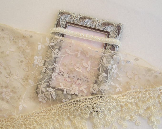 Lace Fringe Wrap in Beige AND/OR Pearl Trim Headband, newborn photo shoots, newborn wrap set, infant swaddle, bebe, Lil Miss Sweet Pea