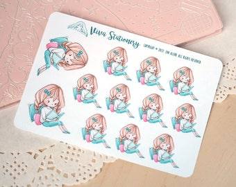 Kawaii Girl Reading a Book Decorative Stickers ~Vera~ For your Life Planner, Diary, Journal, Scrapbook...