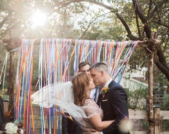 Whimsical backdrop, Ribbon backdrop, fiesta backdrop, Wedding Backdrop, Popsicle party decor, ribbon curtain, ribbon wall