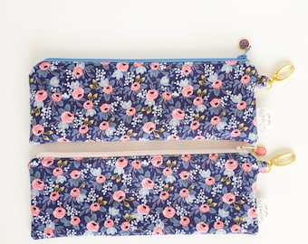 "9.5"" x 3.5"" Top Zippered Pouch // Rosa in Blue by Rifle Paper Co"