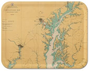 "Chesapeake Bay 1916  Nautical Map Tray 16"" 1/2 x 12"" 1/2"